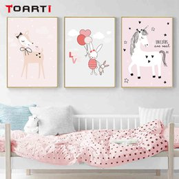 pictures for nursery walls NZ - Pink Unicorn Posters Prints Cartoon Animals Canvas Painting Rainbow Modern Wall Art Pictures For Nursery Kids Bedroom Home Decor