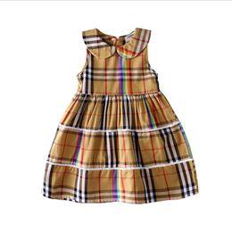 $enCountryForm.capitalKeyWord UK - Girls cotton plaid dress fashion stitching dress sleeveless vest dress summer hot T-shirt short-sleeved casual round neck shirt