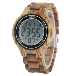 $enCountryForm.capitalKeyWord Australia - Unique Luminous Function Digital Watches for Male Whole Wooden Electronic Watch for Men Casual Calendar Display Wood Wristwatch