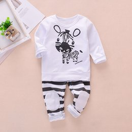 teen boy t shirts NZ - 2020 Printed Long sleeve T-shirt striped Patch Trousers Two Piece Set For Boy Baby Clothes Kids Outfit For Teens ropa