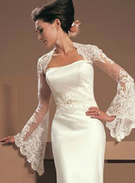 China 2019 Vintage Juliet Long Sleeves Lace Wedding Bridal Jackets Bolero Applique Tulle Cheap Wedding Wrap For Wedding Dress Gowns Plus size cheap cheap lace wedding dress boleros suppliers
