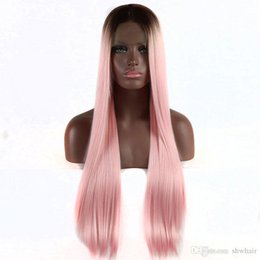 Discount silky soft wigs - Synthetic Ombre Lace Front Wigs For Balck Women Dark Root Color Pink Silky Straight Soft Pink Heat Resistant Fiber Hair