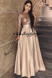 $enCountryForm.capitalKeyWord Australia - Rose Gold Sequins Evening Dresses 2019 Long Sleeves Floor Length Long Prom Dresses Zipper Back Modest Women Formal Wear Dress