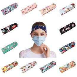 button hair accessories Canada - DHL shipping Women Buttons Headbands With Face Mask Sports Print Yoga Elastic Hairband Protection Ear Girls Fashion Hair Accessories L295FA