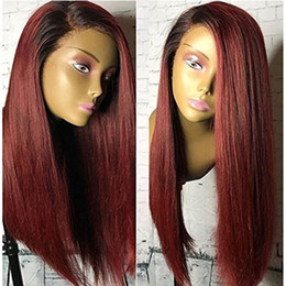 $enCountryForm.capitalKeyWord Australia - 1b 99j Two Tone Ombre Full Lace Human Hair Wigs Brazilian Straight Side Part Lace Front Wig Glueless Ombre Full Lace Wigs