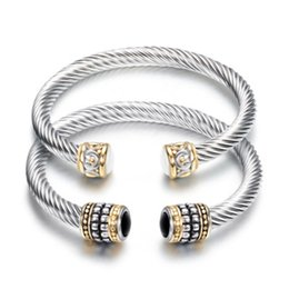 Gem chains online shopping - Retro Titanium Steel Twisting Line Two Color Bracelet Stainless Steel Cable Lines Set Gems Bangle Man Jewelry yj H1