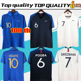 4ed42c74cc6 2018 GRIEZMANN MBAPPE 2 stars Soccer Jersey POGBA KANTE DEMBELE MATUIDI  Football shirts kids women kit maillot de foot 100th anniversary
