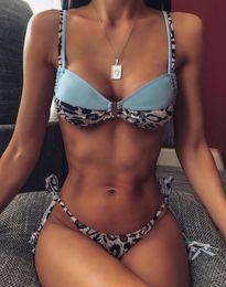 Hot pink swimwear online shopping - hot trainers swimwear women Bikini yellow panel swimwear high waist swimwear leopard print women s split hollow girl ladies yakuda s store