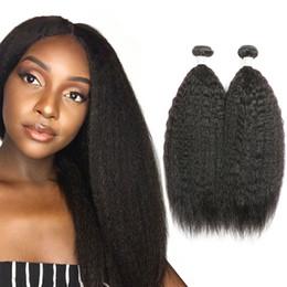 Discount kinky straight hair extensions - Kinky Straight Human Hair Bundles 4 Pcs Wholesale Kinky Straight Malaysian Hair Weaving 10-26 Inch Unprocessed Virgin Hu