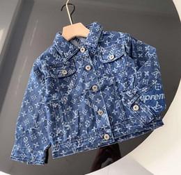 Brasão Denim Jacket For Boys Moda Casacos Crianças Roupa outono Bebés Meninas Roupas Casacos New Jean Jackets em Promoção