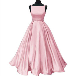 China Beaded Scoop Neckline Satin Long Formal Dress 2019 Floor Length Evening Gowns Vestidos De Festa Pink Burgundy Navy cheap formal evening dress lavender scoop line suppliers