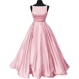 Perlen Rundhalsausschnitt Satin Langes Abendkleid 2019 Bodenlang Abendkleider Vestidos De Festa Pink Burgund