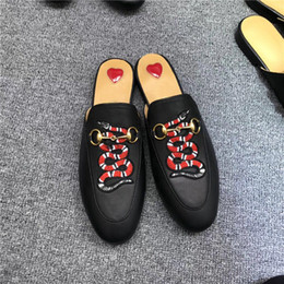 Leather cLosed toe sandaLs online shopping - Classic Designer Metal Buckled Beach Slippers Soft Cowhide Loafer Soft Leather Cartoon Half Slippers Fashion Luxury Ladies Sandals Slip On