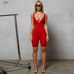 Wholesale women leather jumpsuits for sale – dress 2019 Jumpsuit New Arrival Pu Leather Body Solid Neck Playsuits Sexy Short Rompers Womens One Piece Overalls Women Clothes Suit
