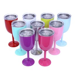10oz Vacuum Stainless Steel Cocktail Glass Wine Creative Winecup Durable Glass Goblet with Lid Drinking Ware Glass gift 9 Colors Choose on Sale