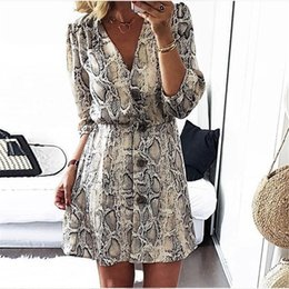 High Street Dresses NZ - New Arrival 2018 Women Fall High Street Style A-line Casual Dress Autumn Snakeskin Printed Half Sleeve Button Party Dresses Y190117