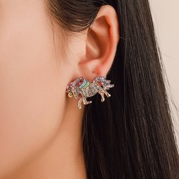 $enCountryForm.capitalKeyWord Australia - Women Unicorn Earrings Rhinestone Crystal Ear Stud Fashion Jewelry Gifts For Valentine Day 200 Pieces DHL