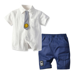 tie downs NZ - Children's Shirt Children's Set Boys Striped Smiley Tie Cardigan Casual Shorts Two Pieces Set shirt Shirt and shorts