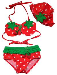 baby swim wear wholesale Australia - strawberry swim wear for children baby girl swimsuit hat 3 pieces bikini swimsuit set kids beachwear for girls support pick size K0147