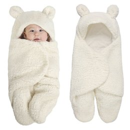 Footed Winter Suit Australia - Newborn Foot Cover Swaddle Wrap Winter Cotton Plush Hooded Climbing Suit Baby Jumpsuit Bag 0-12m Q190520