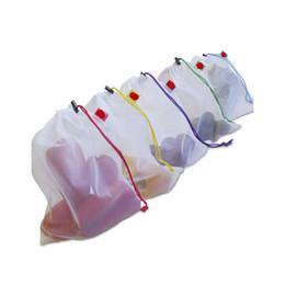 5pcs set handbags online shopping - 5pcs Reusable Produce Bags Mesh Ployester Vegetable Fruit Bags Storage Pouch Grocery Organizer Bag Handbag Easy to See Through