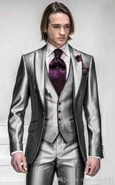 bright suits Australia - Fashion Latest Design Bright Silver With Black Brim Man Groom Tuxedos Wedding Suits Prom Formal Suit (Jacket+Pants+Vest+Tie)