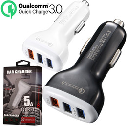 Wholesale Cell Phone Car Charger USB Ports QC3 Fast Charge Adapter Smart Charger V A For iPhone Android Samsung Smartphones