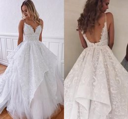 Spring princeSS online shopping - 2019 New Design Tiered Skirts Beach Style Spaghetti Straps Lace Brides Gowns A line White Backless Charming Wedding Dresses Plus Size