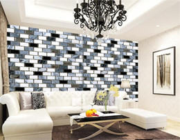 Vintage mosaic tile online shopping - Custom Size D Photo Wallpaper Living Room Mural Black and White Mosaic Tiles d Picture Mural Home Decor Creative Hotel Study Wallpaper D