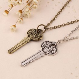 sherlock jewelry UK - Wholesale 10pc lot Vintage Key Pendant Necklace Antique Silver Bronze Detective Sherlock 221b Key Anniversary Jewelry