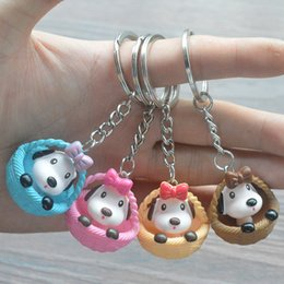 Wholesale Mini x3cm creative round bottom basket puppy doll key chain DIY bag pendant plush toy new cute animation key chain toy plush stuffed gift