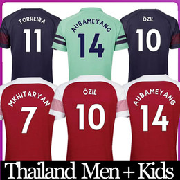 afe3d60f5 Thailand Aubameyang soccer jerseys 18 19 20 AUBAMEYANG OZIL JERSEY 2019  2020 LACAZETTE football kit Top MEN and KIDS SET soccer shirt