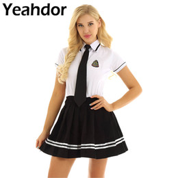 Discount skirt student costume 4Pcs Women School Girl Uniform Suit Students Cosplay Costume White Short Sleeve T-shirt Top Black Pleated Skirt + Badge