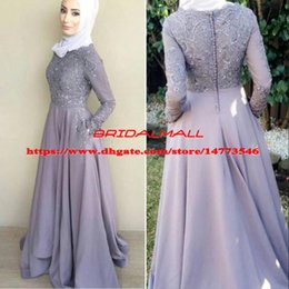 EvEning drEss party hijab online shopping - High Neck African New Beading Appliqued Satin Evening Dresses With Pockets Long Sleeve Formal Party Gowns Hijab Prom Dresses Celebrity
