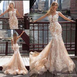 $enCountryForm.capitalKeyWord Australia - Fashion Design Mermaid Wedding Gowns Full Appliques Illusion Button Back Bridal Gowns Champagne Bride Dress Vestido de noiva