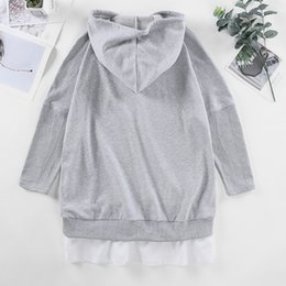 plus size mini maxi dresses Canada - Long Sleeve Solid Coat Fake two piece Women Hoodies Gray 100 Cotton Terry Dress Models Plus Size Pregnant Autumn Clothes