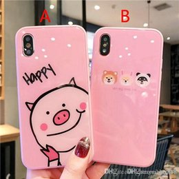 9c6f18ac28 Cartoon small animal pig dog pattern tempered glass phone case cover for  iphone Xs max Xr X 7 7plus 8 8plus 6 6plus