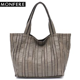Discount tote bags stripped - MONFERE Design Women Leather Shoulder Bag Large Female Sheep Leather Skin Strip Patchwork Handmade Bucket Casual Vintage