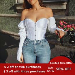 Wholesale women night shirts for sale – plus size Evenworse off shoulder Sexy bubble sleeve top backless women s shirt leisure corset retro style women party night pluz size
