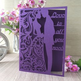 Bride Groom Dress Wedding Card Australia - 25PCS  lot Love Is All You Need Words Bride And Groom Wedding Invitations Cards Decorations With Valentine Dress Party Invitations Supplies