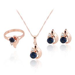 $enCountryForm.capitalKeyWord UK - HC Vintage Blue Crystal Elegant Jewelry Sets for Girl Children Gift Fashion Gold Ring Earring Necklace Set Bridal Wedding Gift F