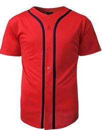 China 2018 Mens Baseball Team Jersey Button Down T Shirts Plain Short Sleeve Top Red  Black jerseys supplier button down t shirts suppliers