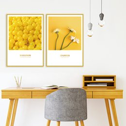 $enCountryForm.capitalKeyWord Australia - BELLEAY ART Print On Canvas Unframed Nordic Wall Pictures Art Yellow Daisies Canvas Painting For Living Room Home Decoration