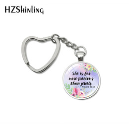 Cars Characters NZ - Fashion Bible Verse Quote Heart Key Rings Glass Cabochon Handmade Women Men Bag Car Holder Keychain Fashion Accessories