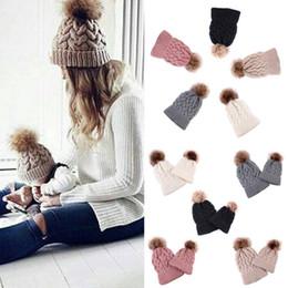 $enCountryForm.capitalKeyWord Australia - 2PCS Mother baby hats Women Kid Baby Warm Winter Knit Beanie Fur Pom Bobble Hat Crochet Ski Cap