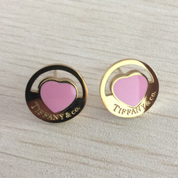 Wholesale Girls Brand L Titanium steel pink stud earring with Super Cute Lucky heart for women christmas gift Jewelry factory price