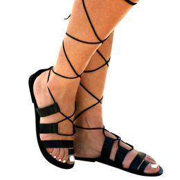 93e07a516 KLV Women's Open Toe Rome Cross Straps Flat Sandals Shoes Ladies Summer  Fashion Flat Roman Sandals Beach Shoes Zapatos De Mujer