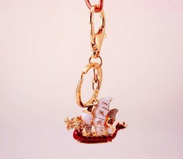 "woman talisman pendant NZ - Dragon Loong Boat ""Safe Trip Wherever You Go"" Lucky Keychain Bag Charm Pendant Handbag Bag Decoration - Travel Keychain Talisman Key Ring"