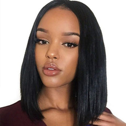 14 inch wigs straight NZ - Lace Front Human Hair Wigs Wigs 8-16 Inch Straight Short Bob For Black Women Brazilian Remy Hair Ombre human hair wigs 150% Density
