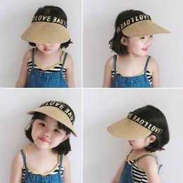 $enCountryForm.capitalKeyWord Australia - New Summer Outdoor Letter Love Bucket Hat For Girls Children Kids Sun Weaving Straw Cap Princess Baby Girl Sun Hats